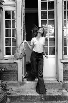 Jane Birkin, black and white,