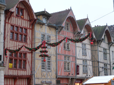 Troyes medieval house fronts, France