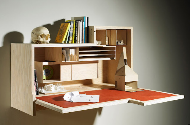 Inspiring Modern Home - Falling Dansu, Unique Wall Mounted Cabinet Desk by Joseph Walsh
