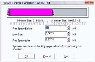 mengubah ukuran hard disk