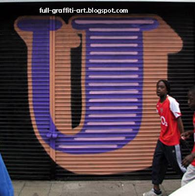 Graffiti Alphabet Letter U