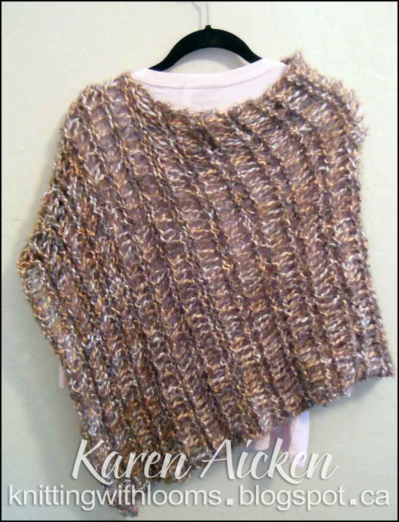 Loom Knitting Poncho : Knitting with looms finished short poncho
