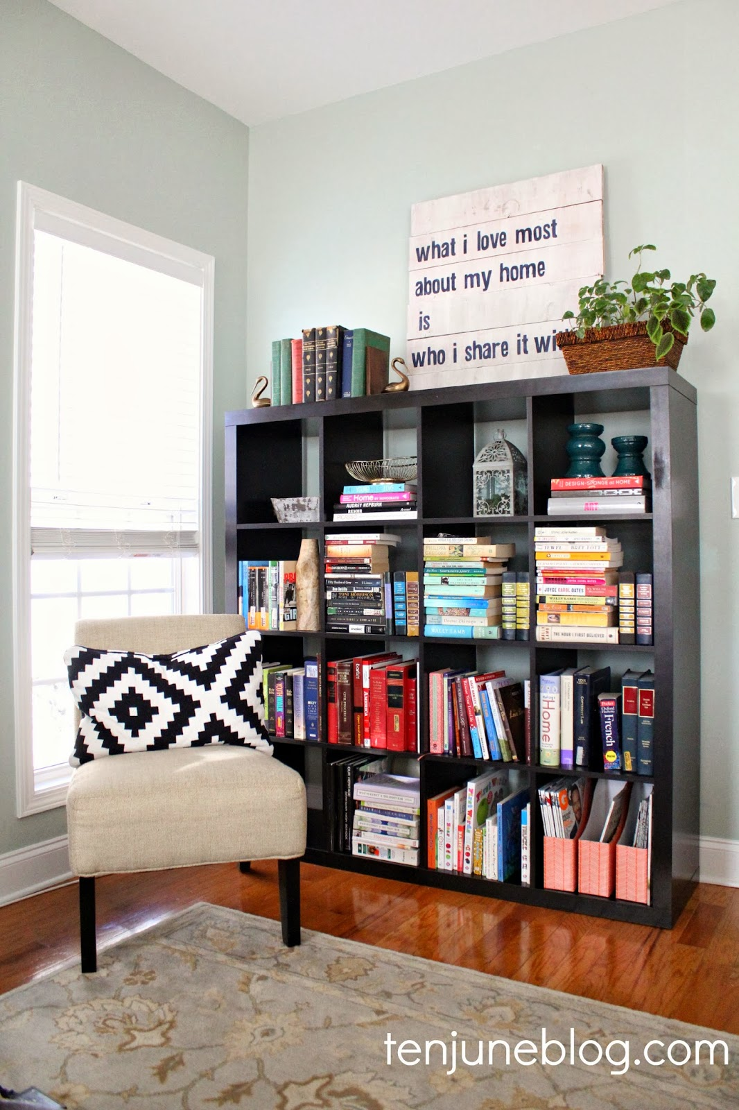 Color Coded Organized Ikea Expedit Bookshelf Styling A Living Room Update