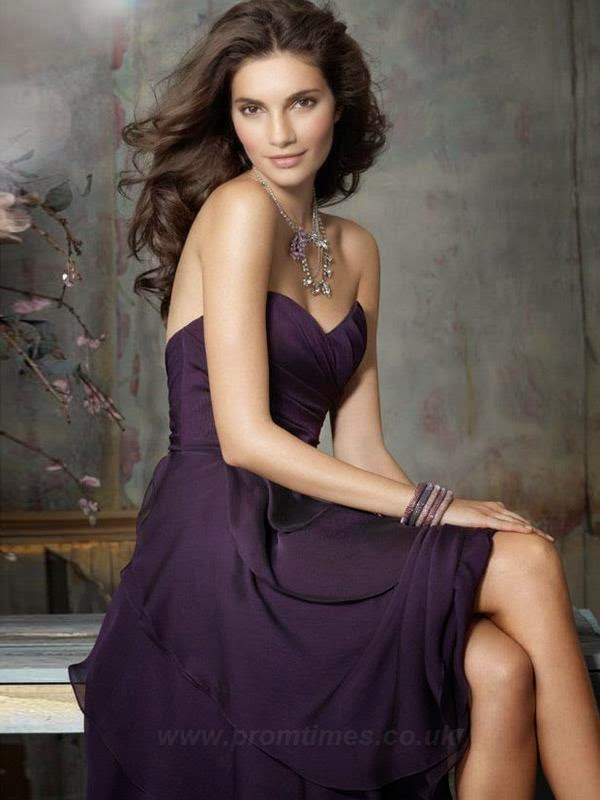 Purple Bridesmaids Dress Ruffles
