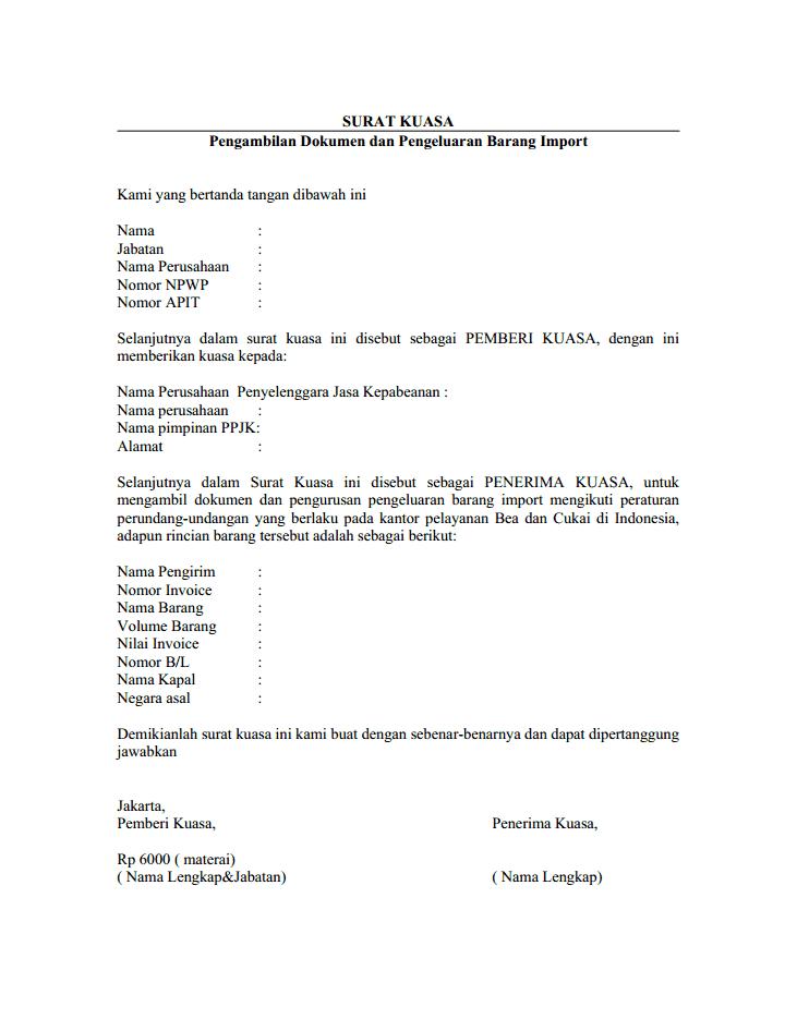 Contoh surat kuasa pengurusan barang export dan pengambilan dokumen