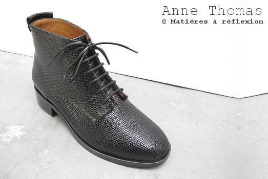 Boots Anne Thomas cuir shiny noir