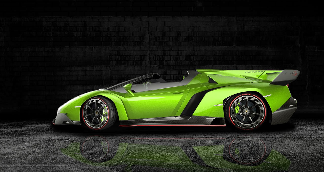 Mobil Keren Lamborghini Veneno Roadster Green Side View
