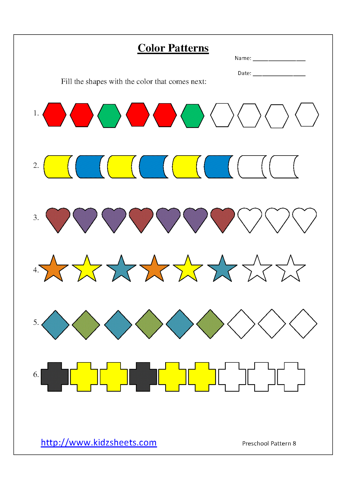 Printables Preschool Pattern Worksheets kidz worksheets preschool color patterns worksheet8 patterns
