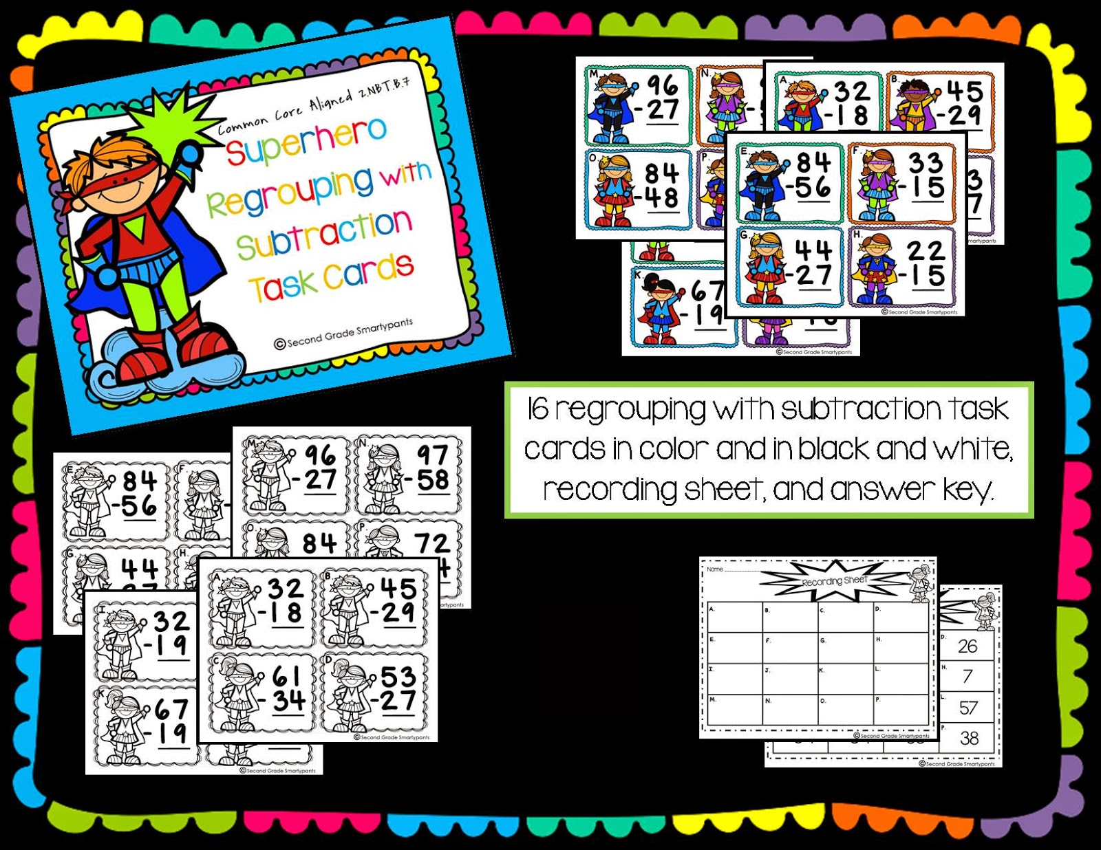 http://www.teacherspayteachers.com/Product/Superhero-Regrouping-with-Subtraction-Task-Cards-1051406