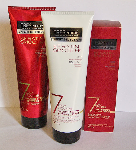 TRESemme Keratin Smooth Shampoo, Conditioner and Hair Treatment, beauty, review, haircare, sleek, the purple scarf, melanieps, toronto, ontario, canada