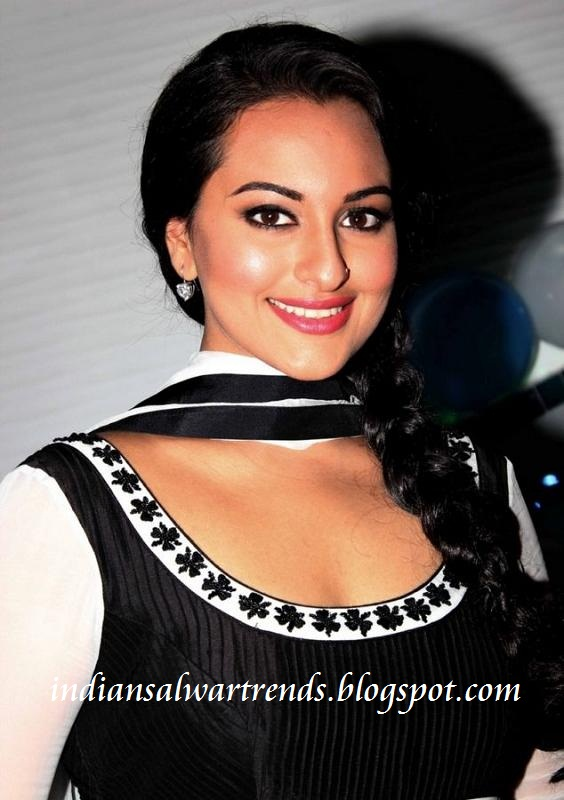 Dresses Sonakshi Sinha Designer White And Black Long Salwar Kameez