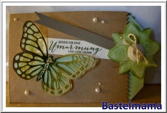 Karte, Schmetterling, Ausziehkarte, Knopf, Blume