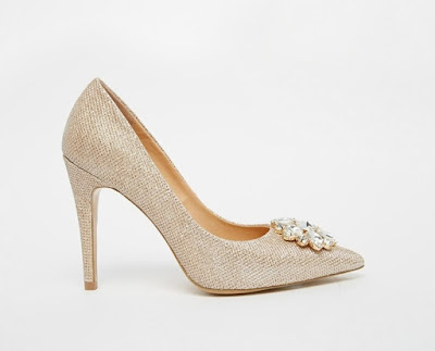 Head Over Heels embellished glitter heeled pointy pumps