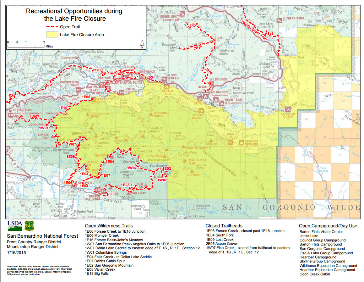 Hikin Jims Blog Updated Lake Fire Closure Map - Us national forest fire map