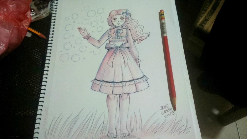 Dibujo hecho con bolígrafos , lápiz rojo y azul
