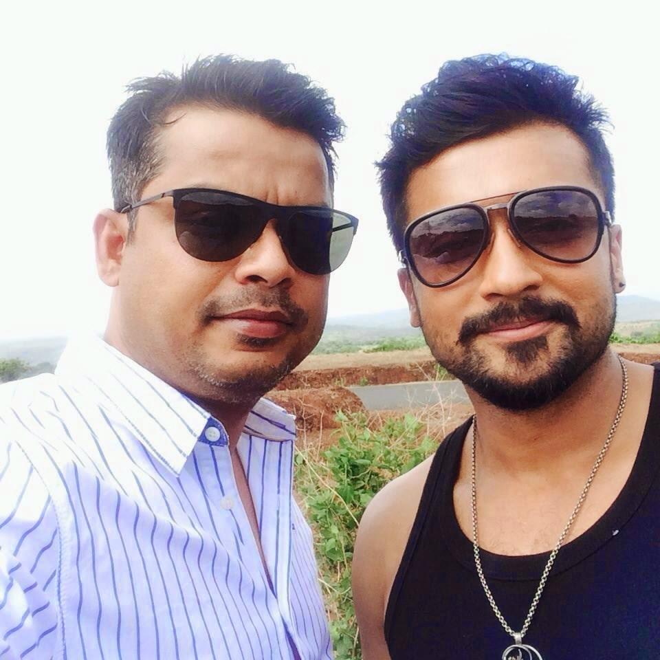 editor anthony with actor surya photos at anjaan shoot - actor surya