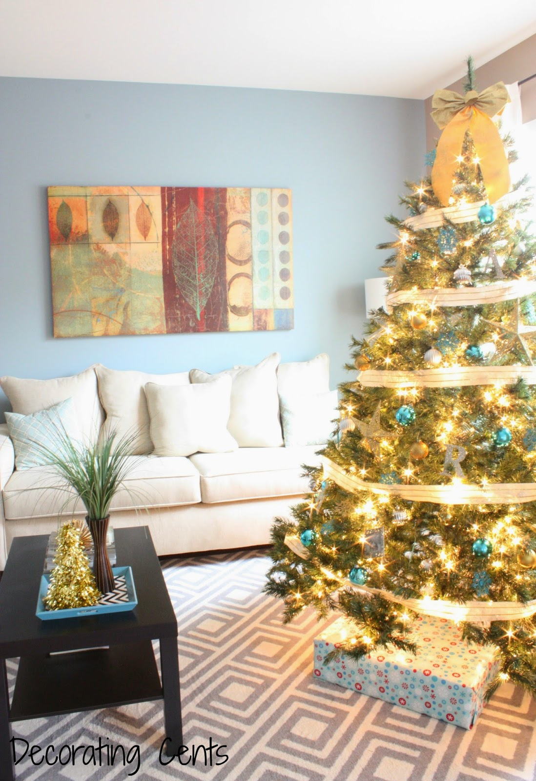 Decorating Cents: Gold, Silver, and Blue Christmas Tree