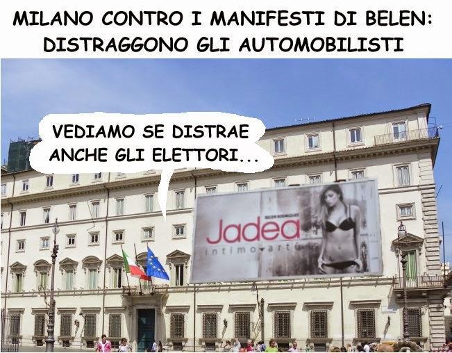 Renzi, Belen, pubblicità, satira, vignetta