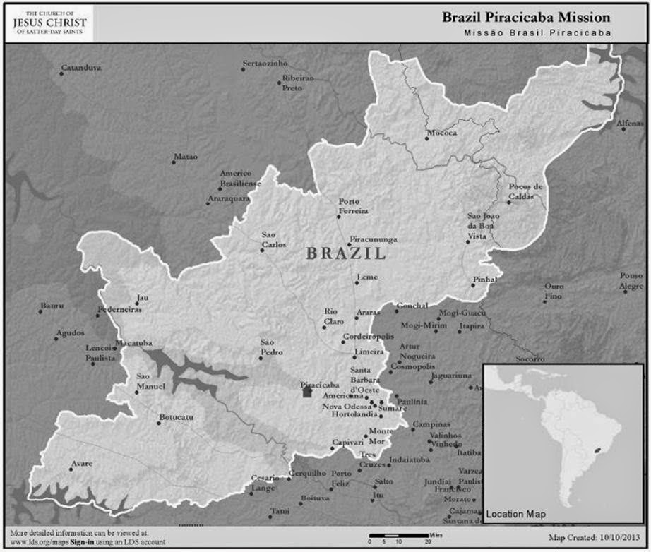 Brazil Piracicaba Mission map