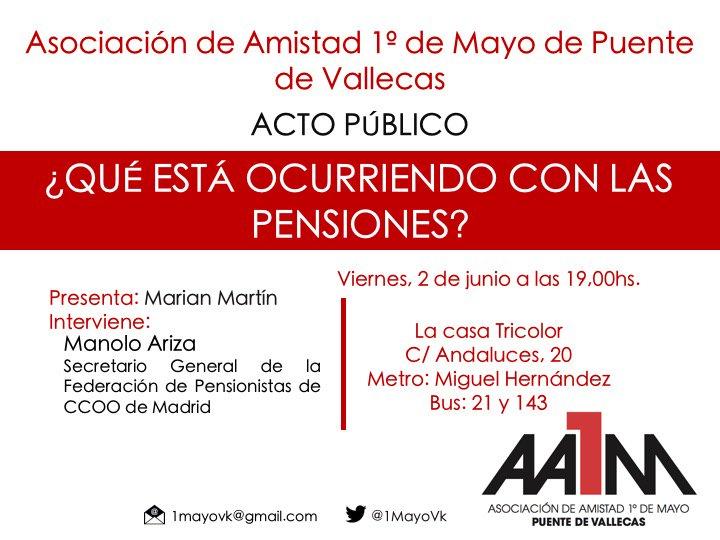2 de junio Debate sobre las Pensiones en Vallecas