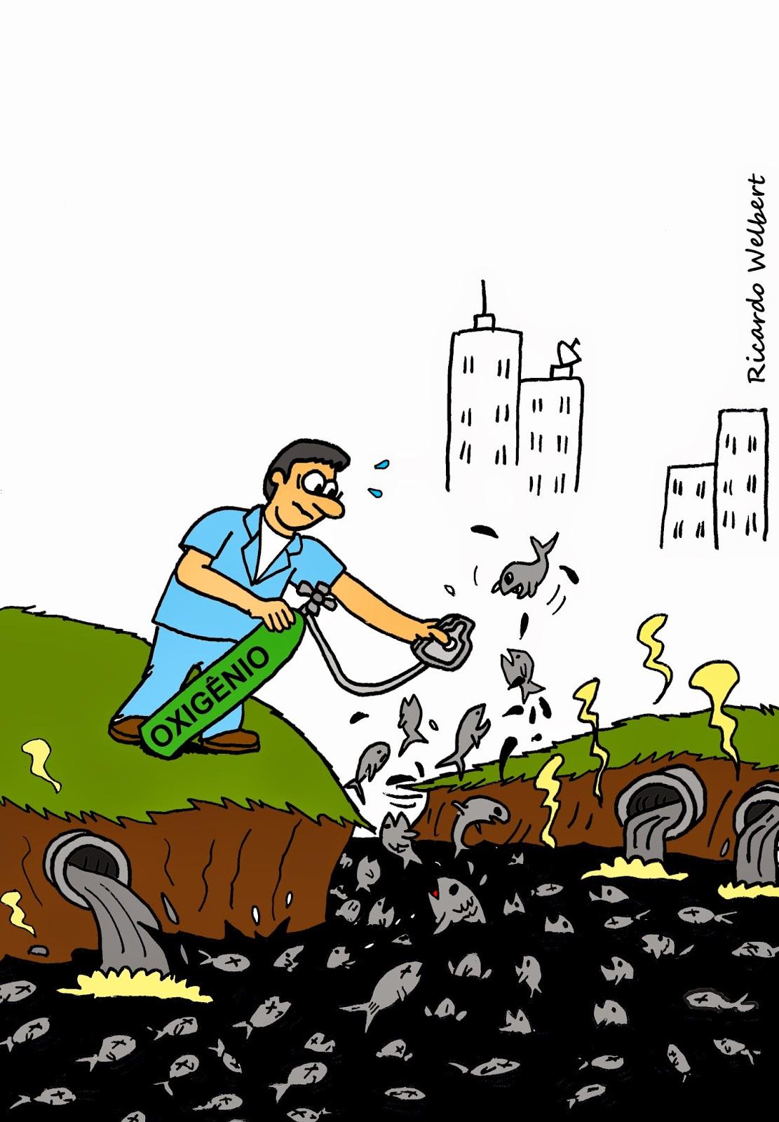"""Charge publicada no jornal """"Agora"""" de 4 de abril de 2014, sobre a morte de peixes no rio Itapecerica, devido ao excesso de esgoto in natura despejado nas águas"""