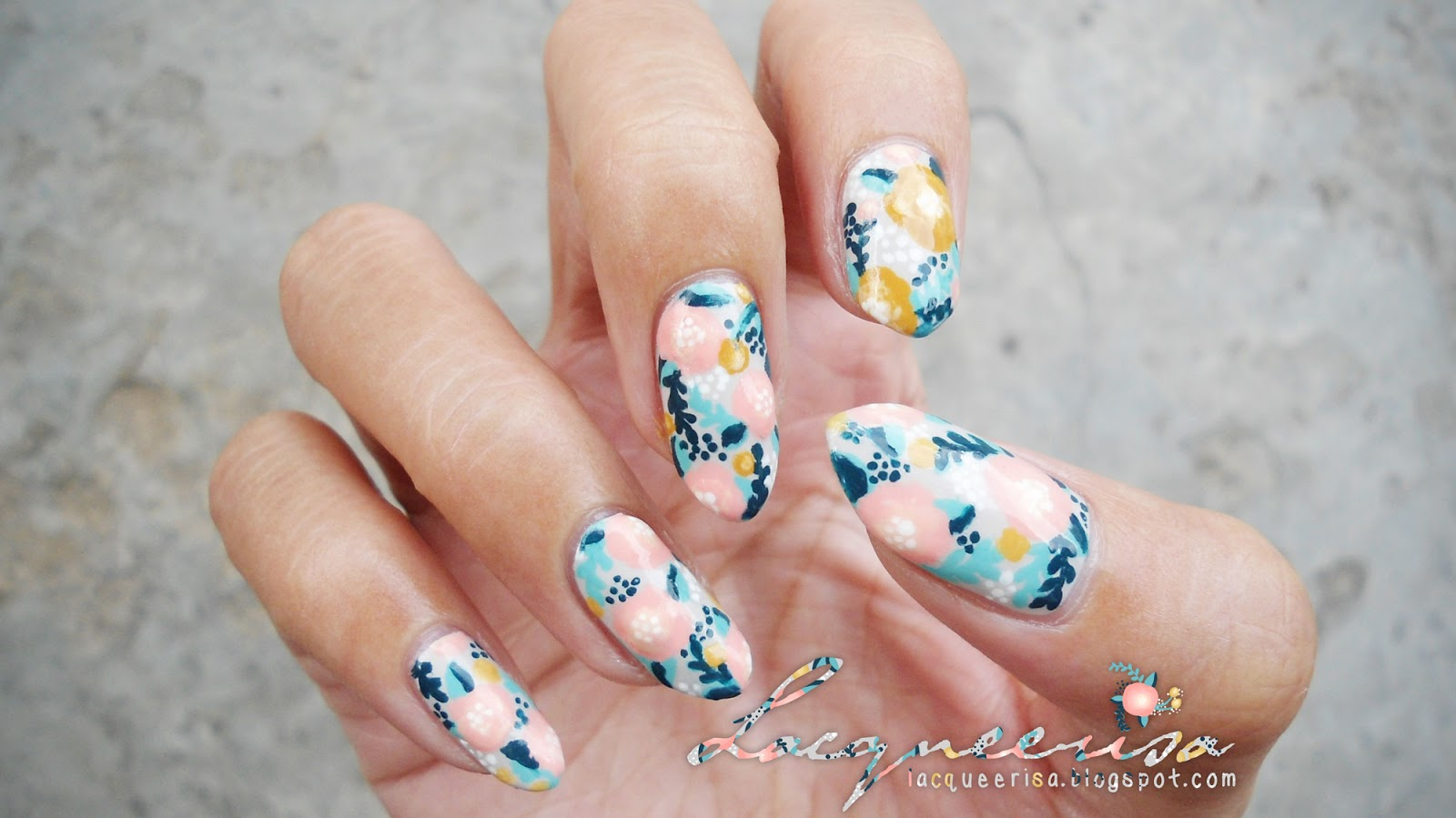 Lacqueerisa: Creamy Dreamy Floral Nails