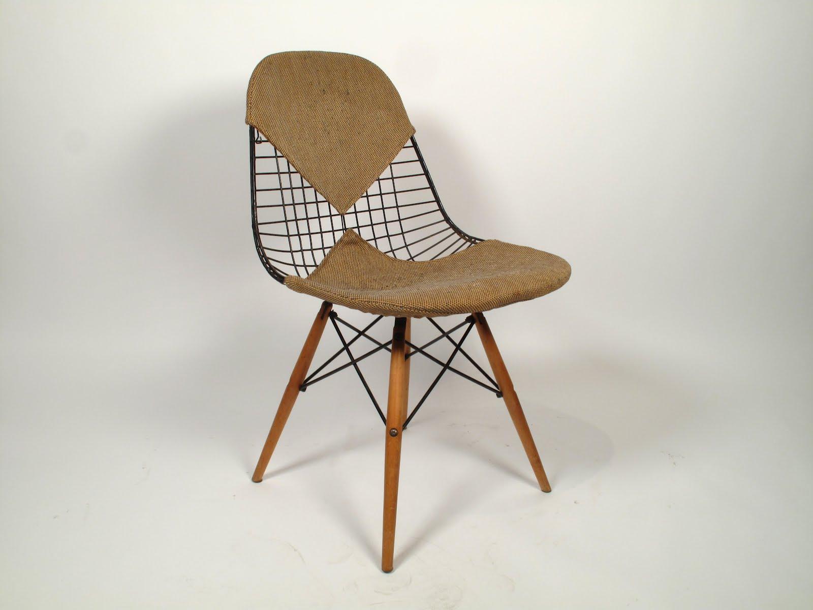 rare eames dkw wire chair with original dowel base and 2 piece bikini