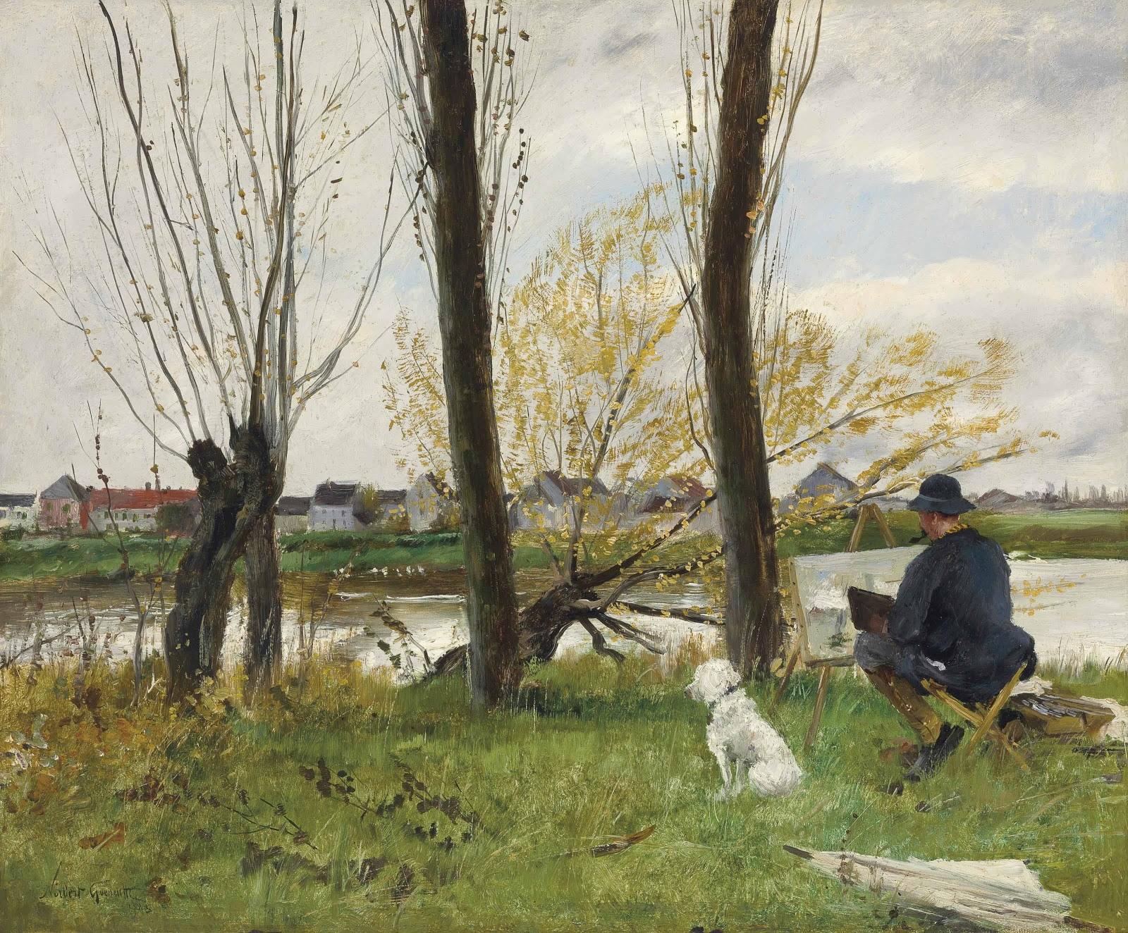 Norbert Goeneutte Peintre au bord d une riviere Christies
