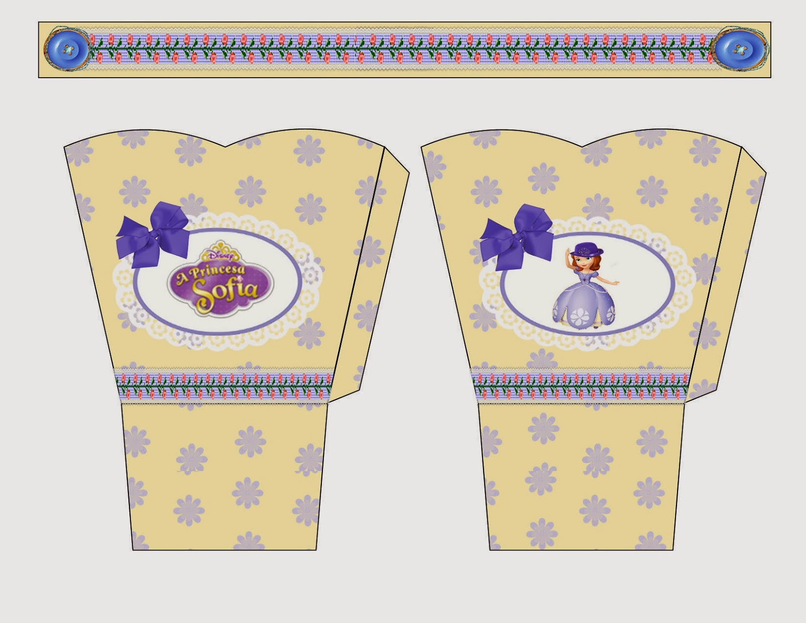 Sofia the First in Lilac and Yellow:  Free Printable Basket.