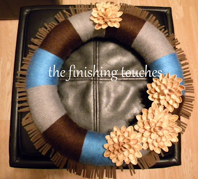 wreath, yarn, pistachio shell flowers, yarn wrapped wreath