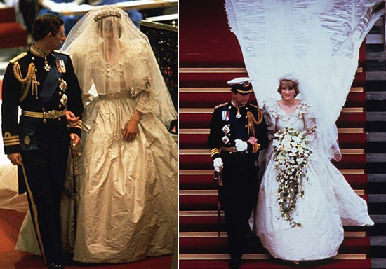 princess diana wedding photos. princess diana wedding dress