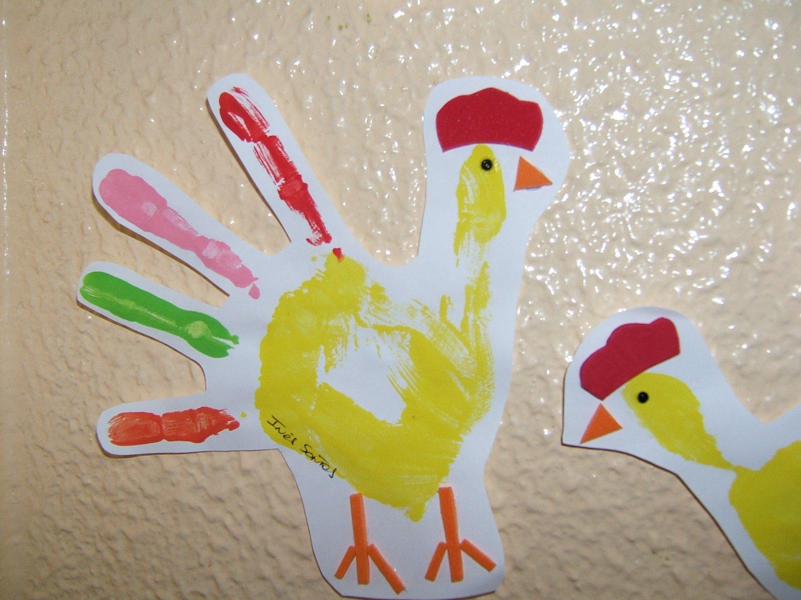 Professora juce animais da fazenda galinha com sucata - Ninos pintando con las manos ...