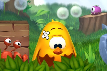 Image of Toki Tori with a patch on his head.