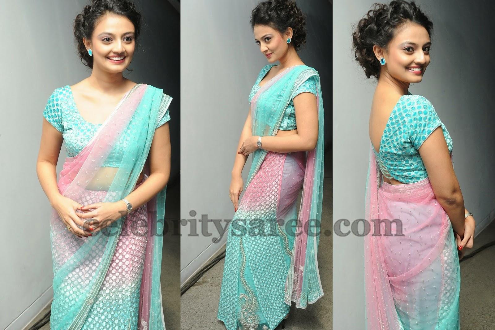 Nikitha Narayan Baby Pink Saree