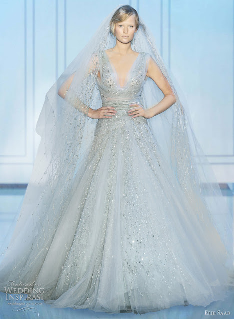 Elie saab fall 2011 2012 couture wedding planning married for Ice blue wedding dress