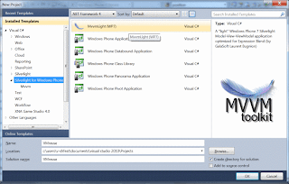 Creating a new WP7 MVVM Light solution