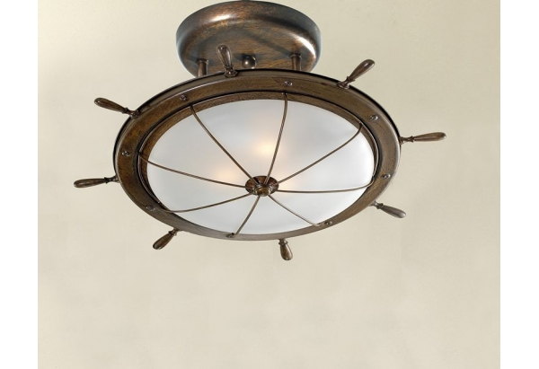 Ship's Wheel Motif Ceiling Fixture