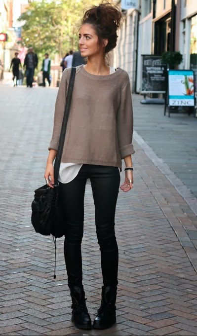Loose layers and coated skinny jeans...
