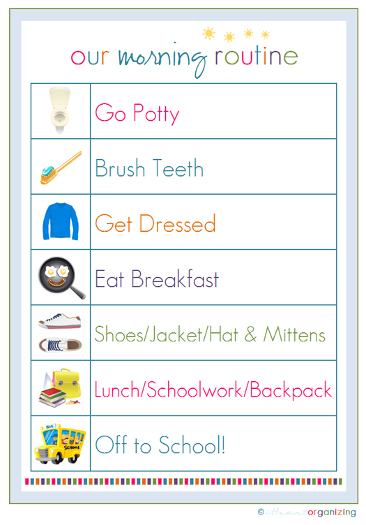 This is a graphic of Striking Children's Routine Charts Free Printable