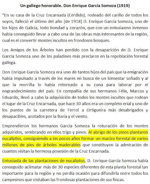 Más eucaliptos,  más   coníferas. Consecuencias de la sed de beneficio$ en la húmeda Galicia. El sector forestal. 1919_Biografia+Garcia+Somoza,+promotor+eucaliptos+Cerdido