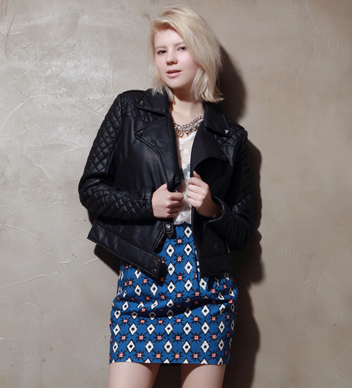 Quilted Sleeve Faux Leather Biker Jacket