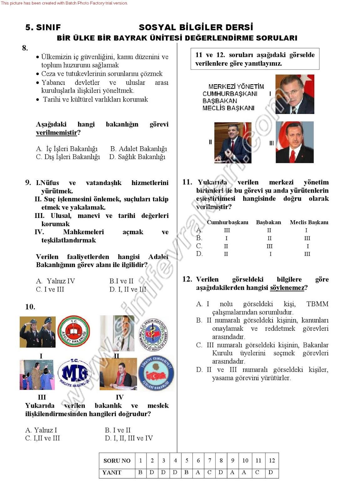 Sınıf sosyal bilgiler 7 ünite bir ülke bir bayrak ünite testi 5