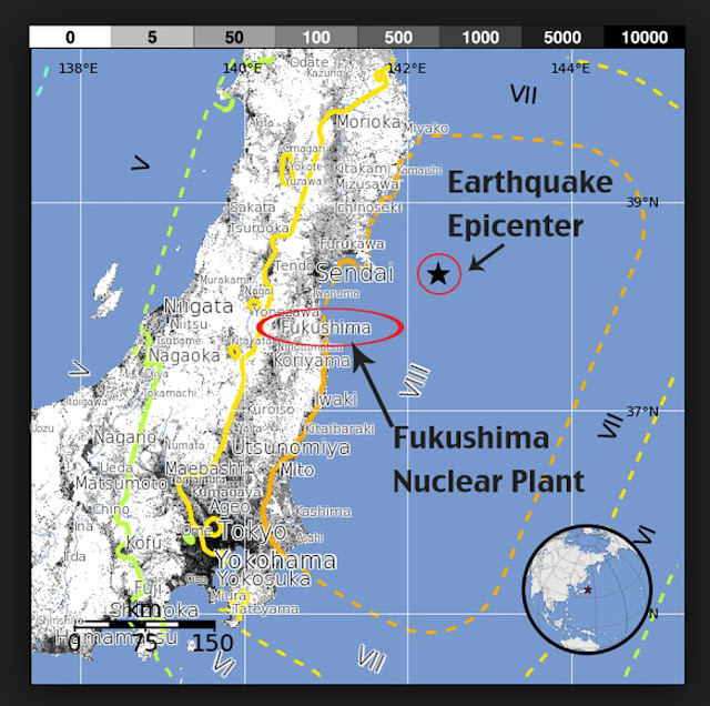 map of Fukushima Prefecture and earthquake epicenter