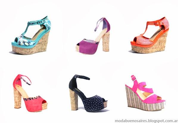 Sandalias, zapatos e indumentaria femenina moda primavera verano 2014.