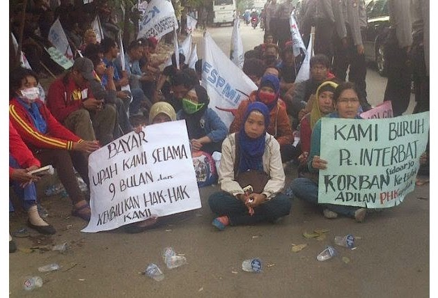 Buruh PT Interbat Di PHK Karena Menuntut Hak Dan Menyanyikan Lagu Indonesia Raya