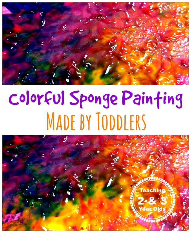 Colorful Sponge Painting Made by Toddlers