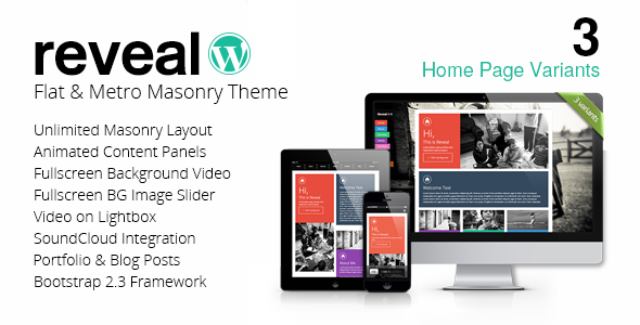 Reveal v1.1.2 - Flat & Metro Masonry Wordpress Theme
