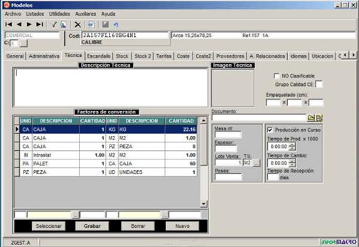 Zgest proceso para el cambio del packing de un producto ya operativo - Conversion ca en m2 ...
