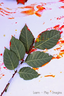Homemade paint brushes using leaves and sticks - fall art for kids