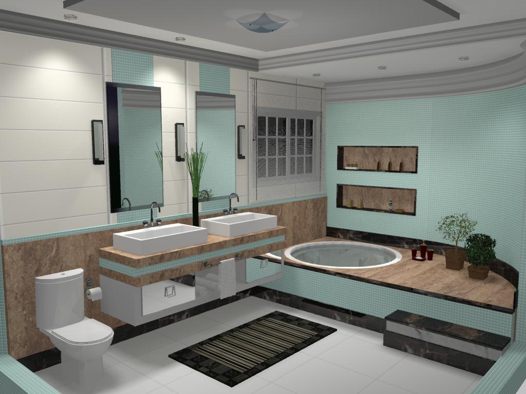 Banheiro Casal #5F4E40 1024x768 Banheiro Com Banheira Casal